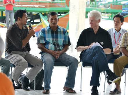 Former American President Bill Clinton visited tsunami hit villages in Indonesia this past year.