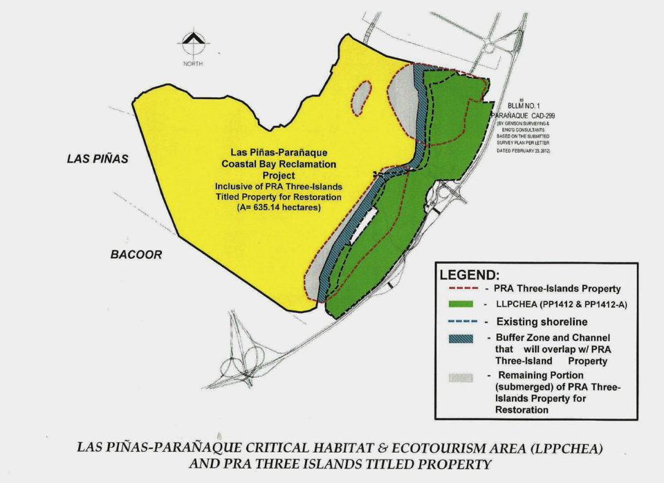 Map showing proposed reclamation area and the Las Piñas-Parañaque Ramsar Site