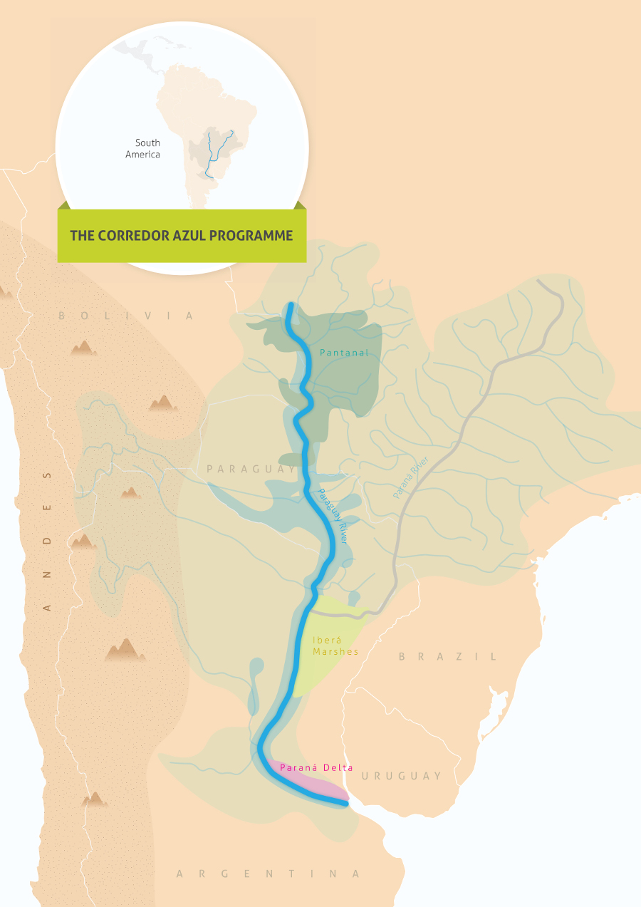 A map showing the Parana, Pantanal, and Paraguay rivers