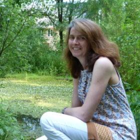 Miranda Maybank in a green wetland area