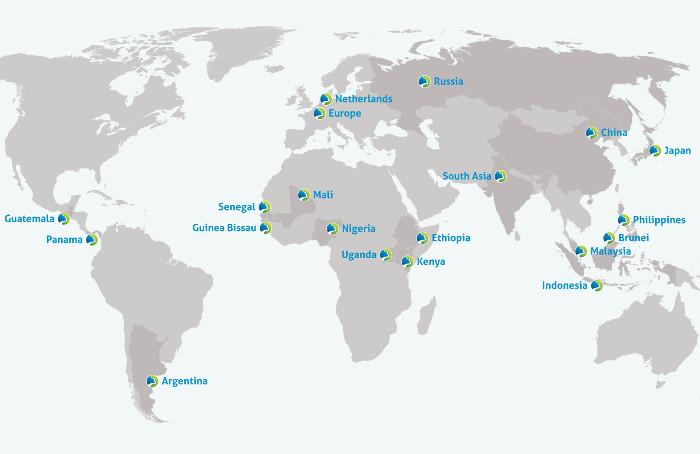 A map of the world showing Wetlands International's office locations, in Guatemala, Panama, Senegal, Guinea Bissau, Mali, Nigeria, Uganda, Ethiopia, Kenya, Netherlands, Europe, Russia, South Asia, Indonesia, Malaysia, Brunei, Philippines, Japan, China